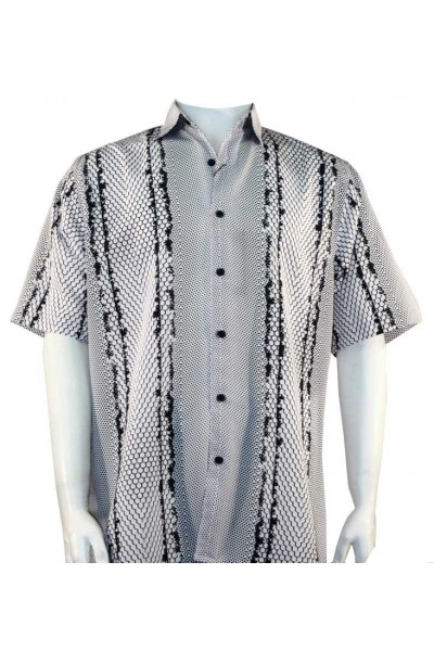 Bassiri S/S Button Down Men's Shirt - Tri Pattern / Black