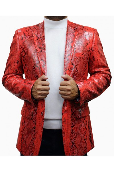 Bassiri Men's Snake Print Blazer - Red a