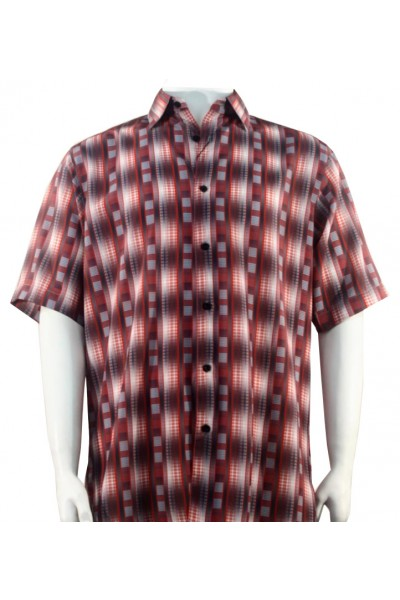 Bassiri S/S Button Down Men's Shirt - Bricks / Red