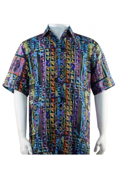 Bassiri S/S Button Down Men's Shirt - Geometric / Blue Multi
