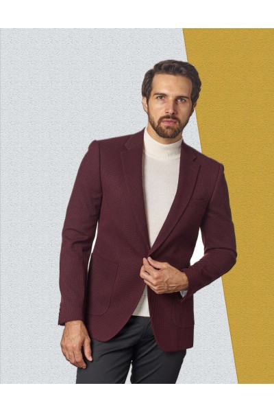 Men's Waffle-Knit Blazer by Suslo Couture - Burgundy