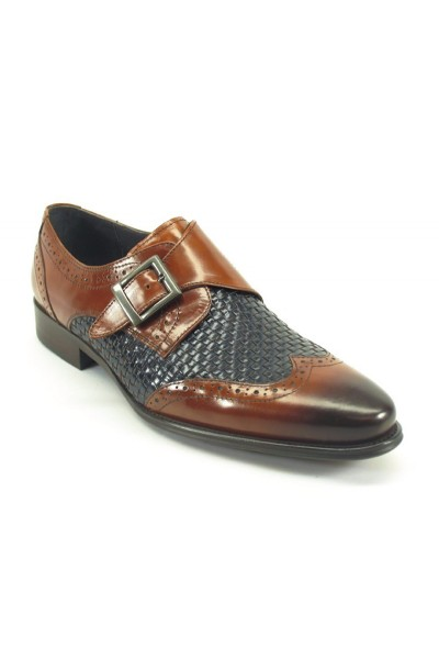 Men's Fashion Shoes by Carrucci - Woven / Buckle Brown-Navy