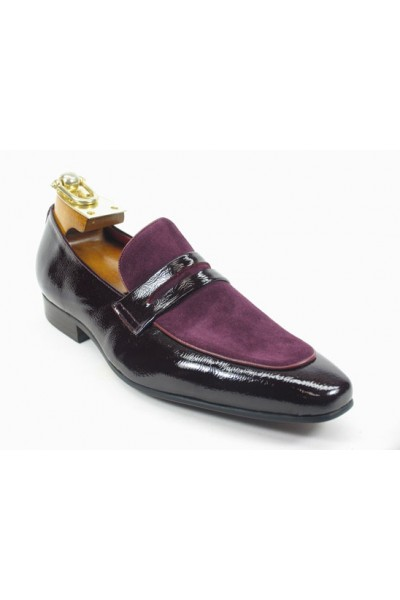 Men's Fashion Shoes by Carrucci - Patent Leather Loafer Burgundy