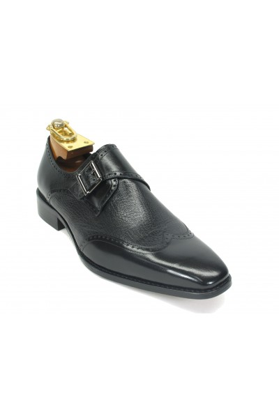Men's Slip On Leather Loafers by Carrucci - Buckle Detail / Black