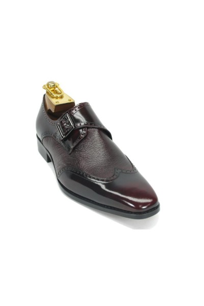 Men's Slip On Leather Loafers by Carrucci - Buckle Detail / Burgundy