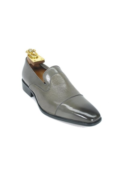 Men's Slip On Leather Loafers by Carrucci - Gray Patent