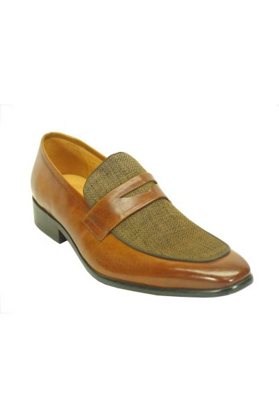 Men's Slip On Denim Leather Loafers by Carrucci - Cognac