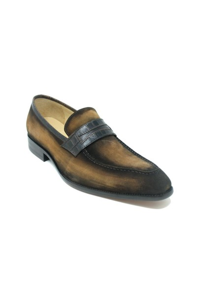 Men's Slip-On Shoes by Carrucci - Penny Loafer / Suede Brown