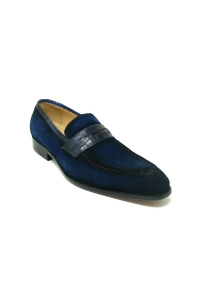 Men's Slip-On Shoes by Carrucci - Penny Loafer / Suede Navy a