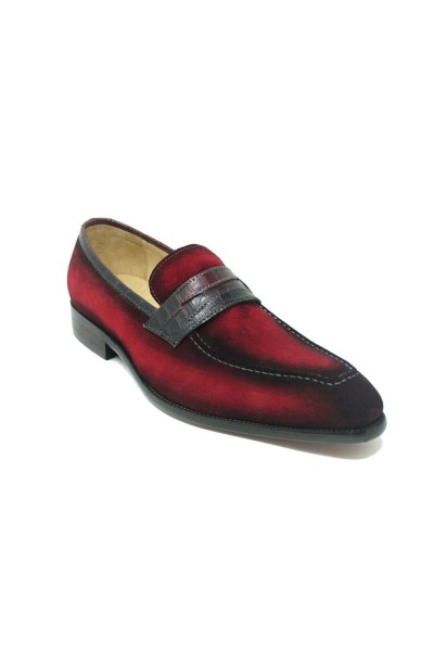 Men's Slip-On Shoes by Carrucci - Penny Loafer / Suede Red