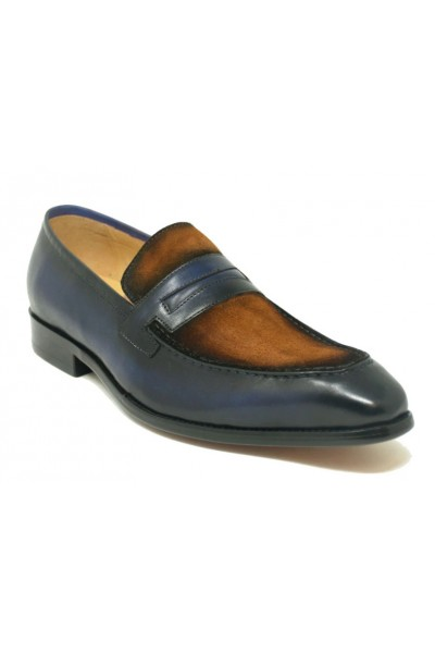 Men's Slip-On Shoes by Carrucci - Duo Tone / Brown Navy a