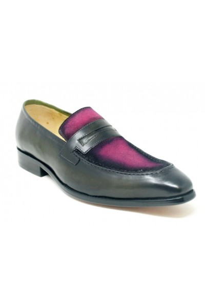 Men's Slip-On Shoes by Carrucci - Duo Tone / Purple Olive a