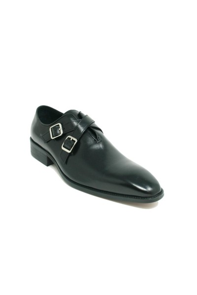 Men's Slip-On Shoes by Carrucci - Cross Buckles / Black