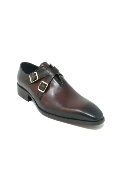 Men's Slip-On Shoes by Carrucci - Cross Buckles / Chestnut a