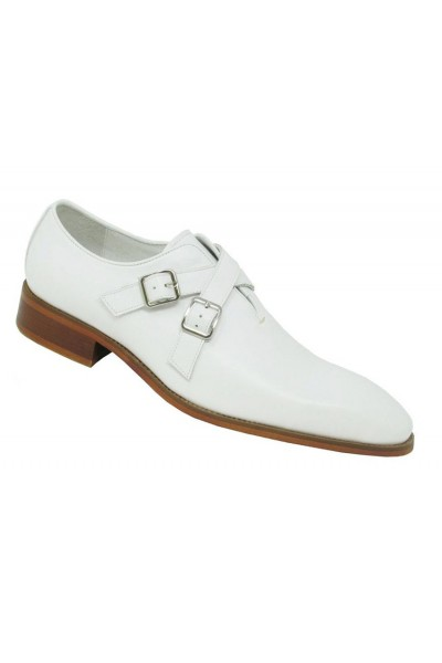 Men's Slip-On Shoes by Carrucci - Cross Buckles / White