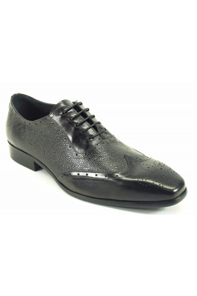 Men's Fashion Shoes by Carrucci - Black / Perf Lace-Up