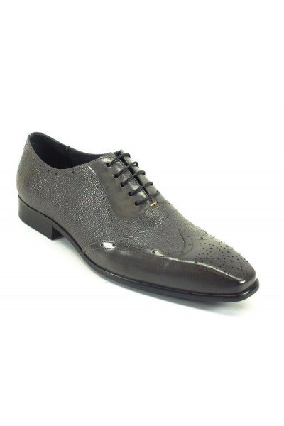 Men's Fashion Shoes by Carrucci - Grey / Perf Lace-Up