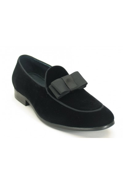 Men's Fashion Shoes by Carrucci - Black Velvet / Bow