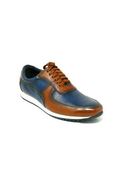 Men's Footwear by Carrucci - Burnished Leather Sneaker - Brown Navy