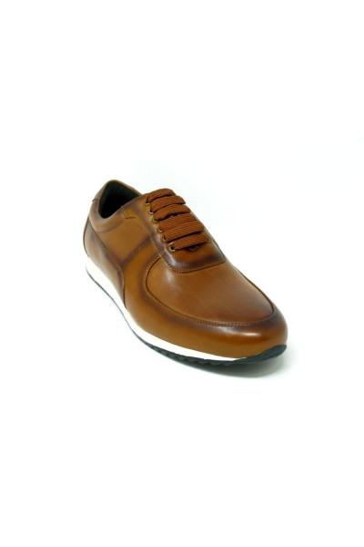 Men's Footwear by Carrucci - Burnished Leather Sneaker - Cognac a