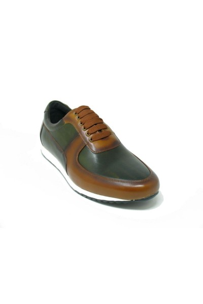 Men's Footwear by Carrucci - Burnished Leather Sneaker - Cognac Olive  a