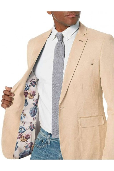 Men's Linen Blazer by Suslo Couture - Beige