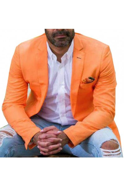Men's Linen Blazer by Suslo Couture - Orange