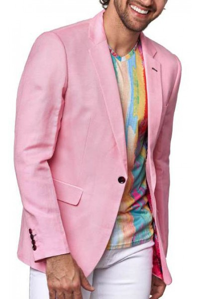 Men's Linen Blazer by Suslo Couture - Pink