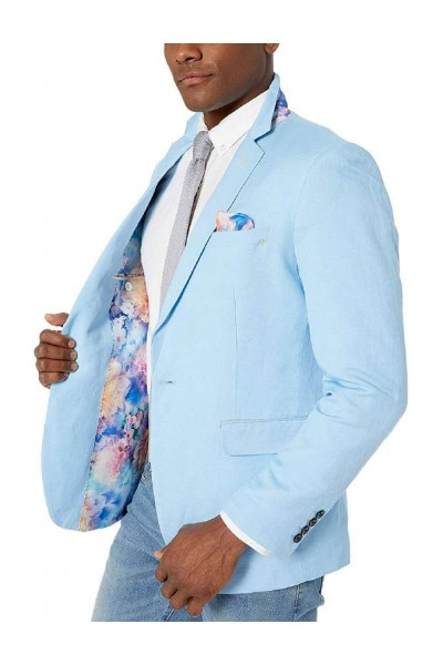 Men's Linen Blazer by Suslo Couture - Sky