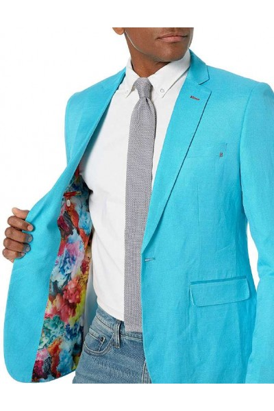 Men's Linen Blazer by Suslo Couture - Turquoise