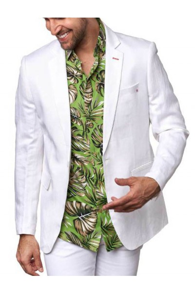 Men's Linen Blazer by Suslo Couture - White