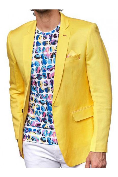Men's Linen Blazer by Suslo Couture - Yellow