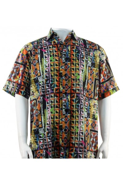 Bassiri S/S Button Down Men's Shirt - Geometric / Multi