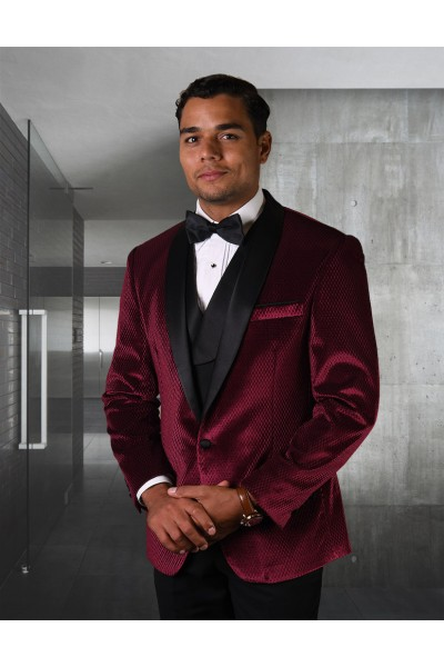 Men's Tux - Tailored Fit - Velvet Burgundy