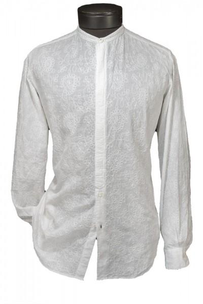 Giovanni Marquez Italian Cotton Shirt - White on White - Floral Stitching
