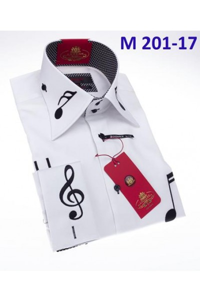 Men's Fashion Shirt by AXXESS - Music / White Black