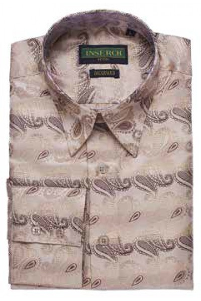 Men's Fashion Shirt by Merc/InSerch - Jacquard / Lt Brown Pattern a
