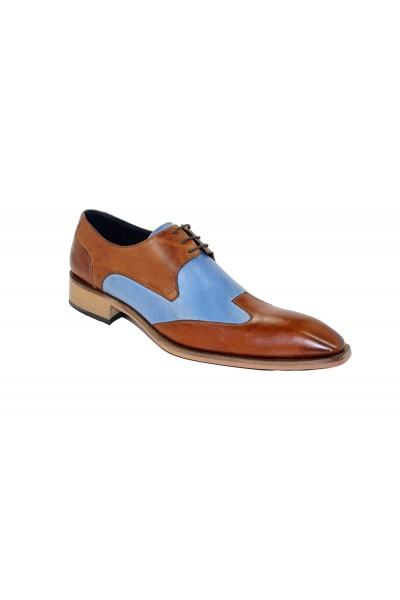 Duca by Matiste Men's Shoes - Made in Italy - Milano Cognac Lt Blue