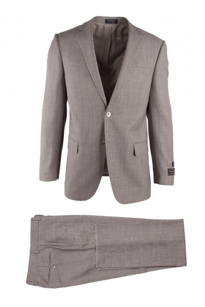 Novello Modern Fit Luxe Suit by Tiglio - Tan Birdseye