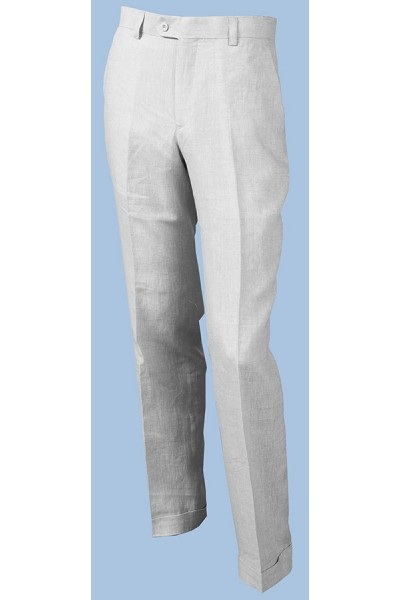 Men's 100% Linen Flat Front Pants by Merc/InSerch - Cuffed