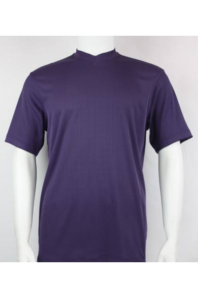 Bassiri S/S Mens V-Neck Knit Microfiber T-Shirt - Purple