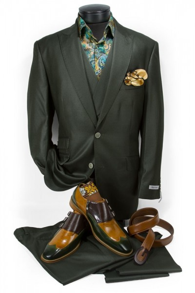 Needle & Stitch Men's 3 Piece Suit - Dark Olive