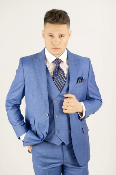 Needle & Stitch Men's Modern Fit 3 Piece Suit - Blue