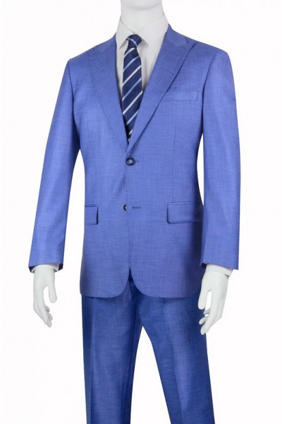 Needle & Stitch Men's Slim Fit 3 Piece Suit - Denim Blue