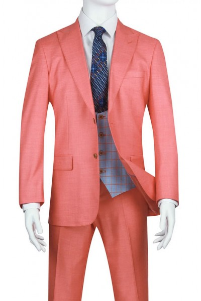 Needle & Stitch Men's Slim Fit 3 Piece Suit - Salmon