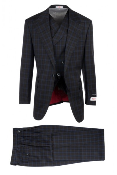 3 Pc Full Cut Men's Suit  by Tiglio Rosso - New Rosso Brown / Lt Blue Plaid