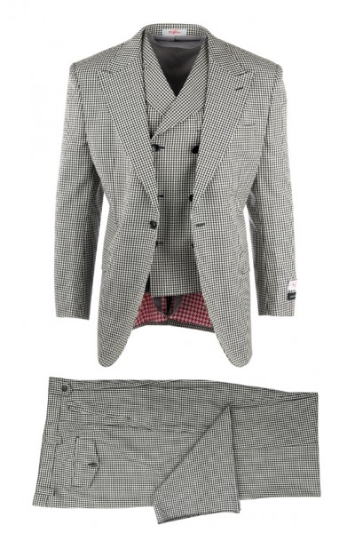 San Giovesse Full Cut Men's Suit  by Tiglio Rosso - B/W Check