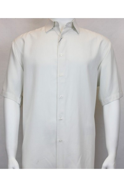 Bassiri S/S Button Down Men's Shirt - Solid / White