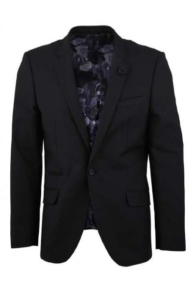 Men's Sateen Blazer by Suslo Couture - Black