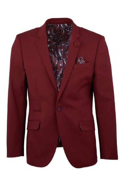 Men's Sateen Blazer by Suslo Couture - Burgundy